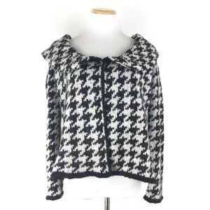 Zara Size M Mohair Wool Houndstooth Cardigan